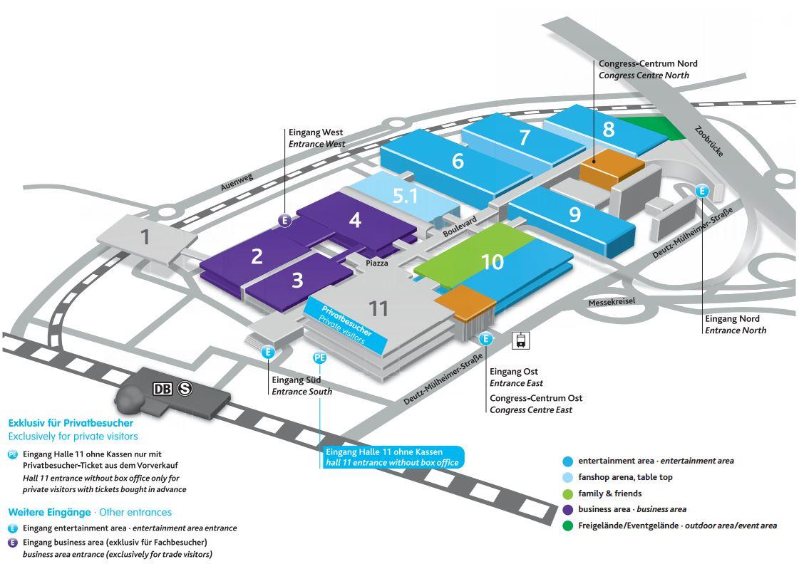 Der Hallenplan der gamescom 2015